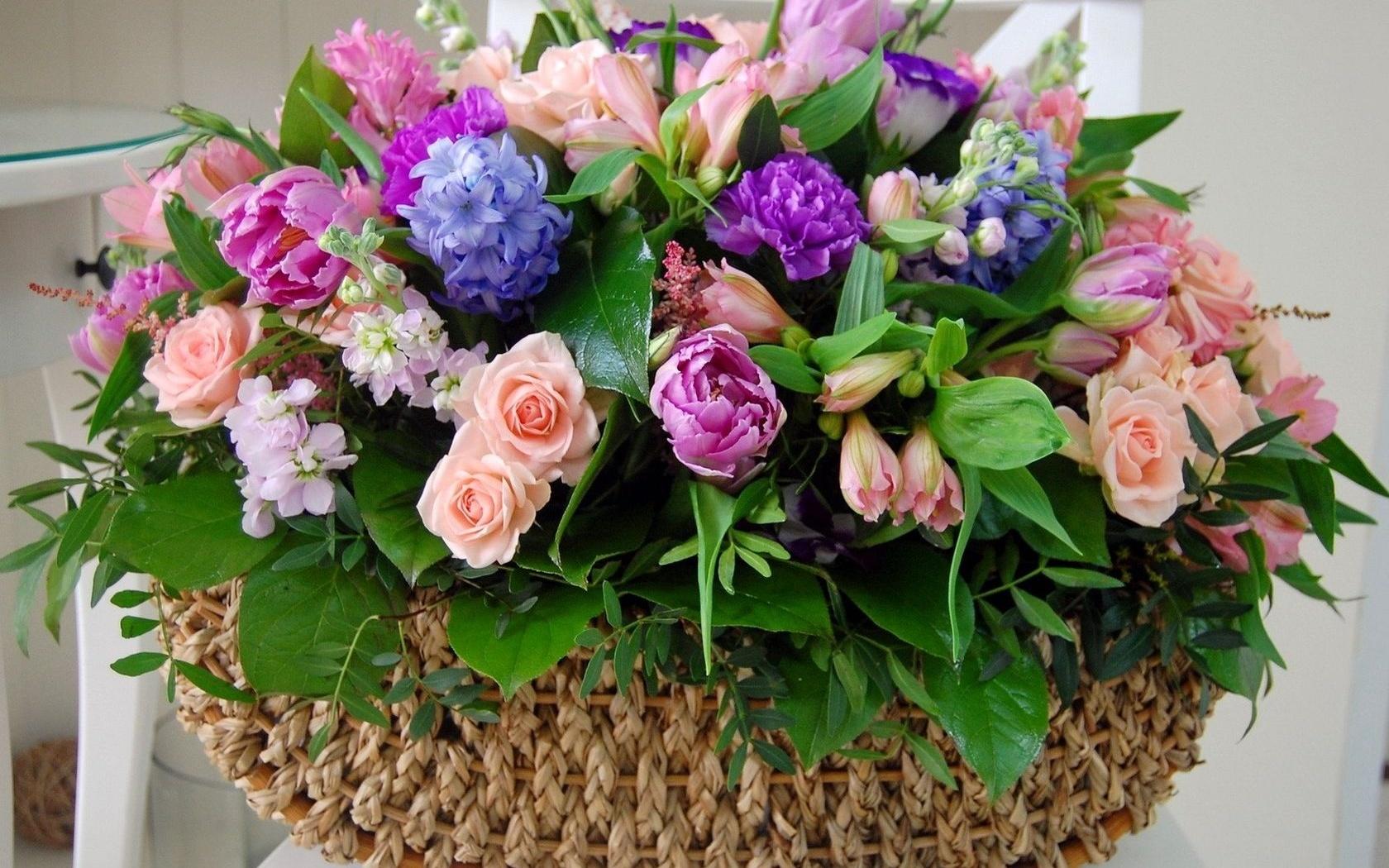 Цветы в корзине фото своими руками