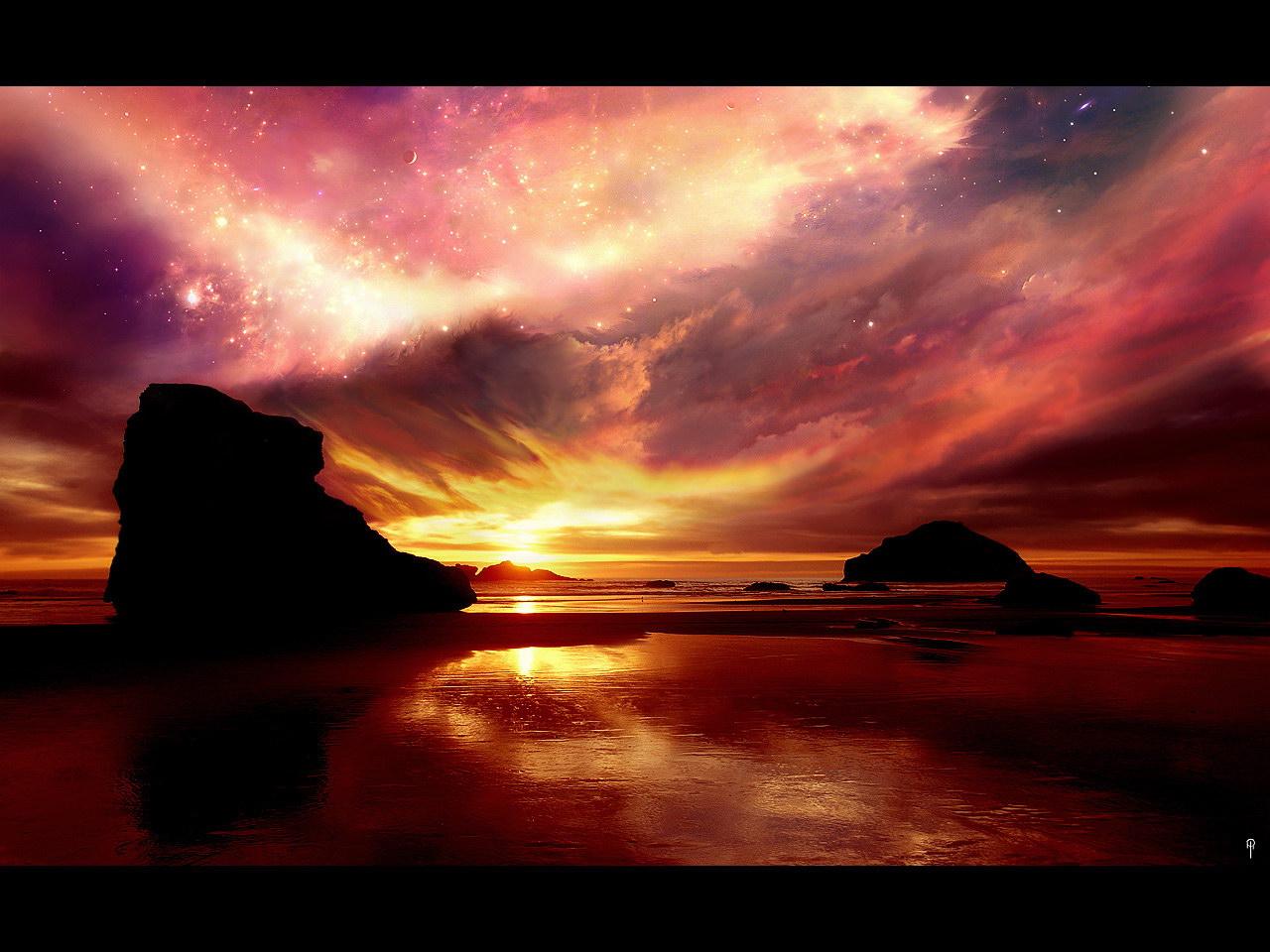 Обои фото звездное небо на закате