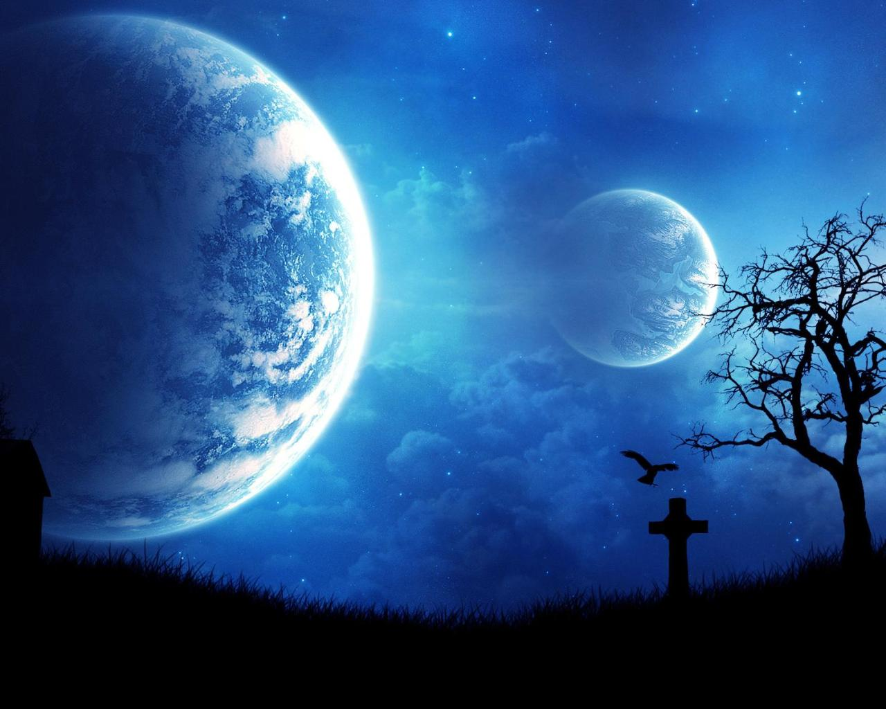 Ночное небо обои фото планеты в