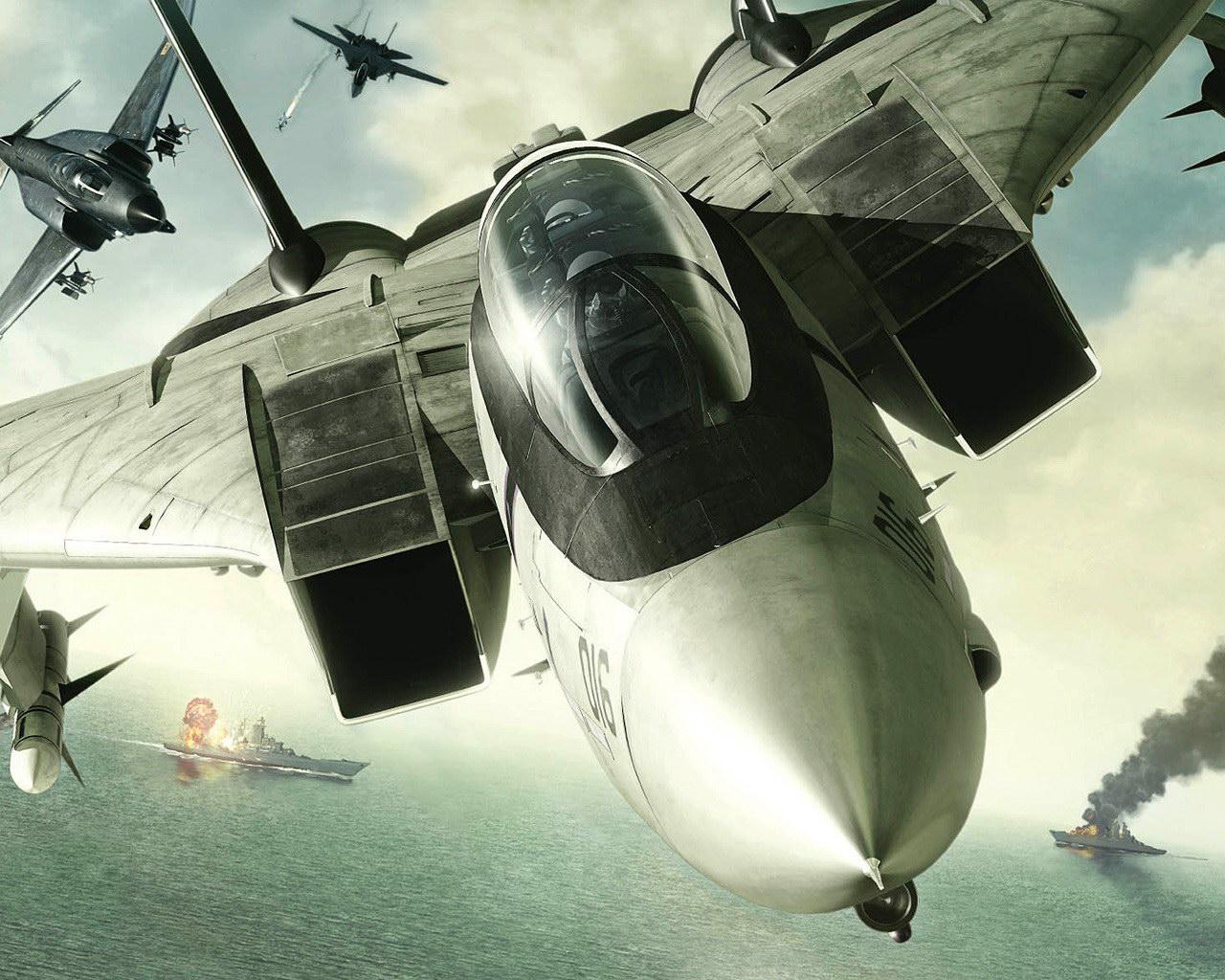 Самолеты бомбят корабли обои фото